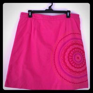 Boden Pink Embroidered zip Skirt